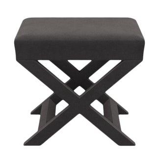 X Bench in French Grey Velvet For Sale