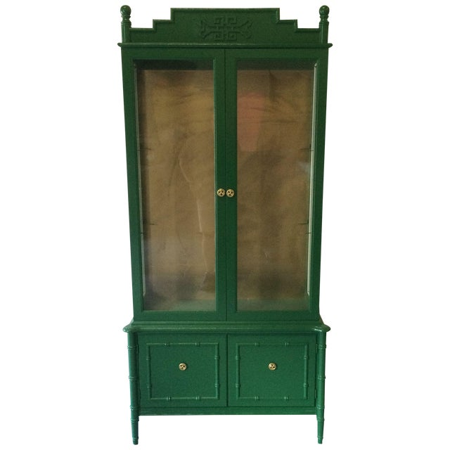 Vintage Green/Gold Bamboo Hutch For Sale