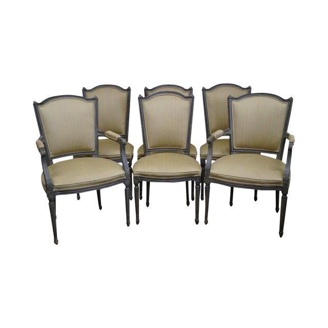 Vintage Painted French Louis XVI Style Dining Chairs - Set of 6 - Image 1 of 10