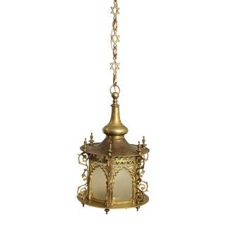 Gothic Revival Vintage Brass Hanging Sanctuary Lamp Chandelier For Sale