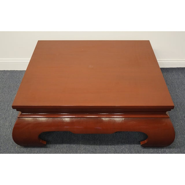Contemporary Contemporary Modern Asian Inspired Square Rust Red Coffee Table For Sale - Image 3 of 9