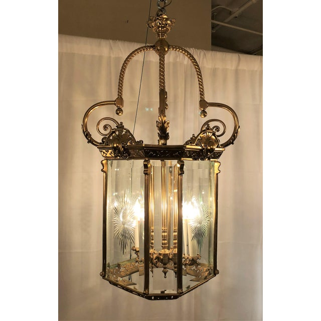 Empire Antique French Bronze Lantern With Etched Beveled Glass, Circa 1890-1900. For Sale - Image 3 of 4