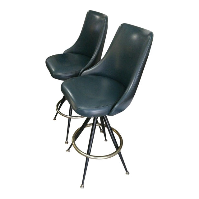 Mid-Century Brass & Leatherette Swivel Bar Stools - a Pair For Sale
