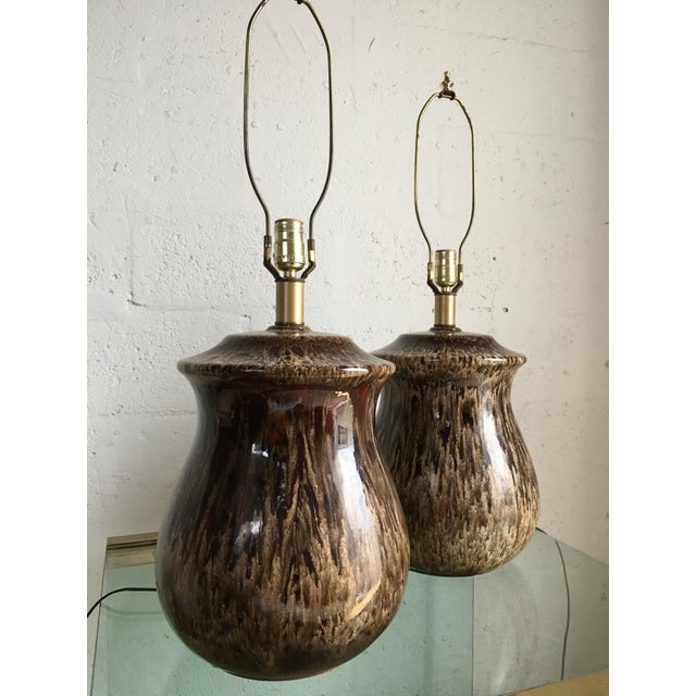 Mid-Century Modern Vintage Mid-Century Ceramic Table Lamps - A Pair For Sale - Image 3 of 10