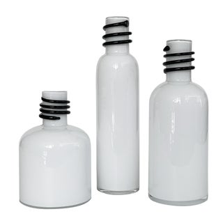 Set of 3 White Cased Glass Vases / Bottles by Tarnowiec For Sale