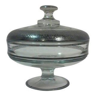 Art Deco Era Silvered Cut Glass Candy Dish For Sale