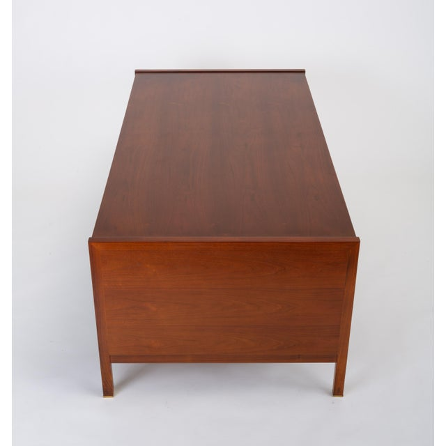 Dunbar Furniture Edward Wormley for Dunbar Walnut Executive Desk With Rosewood and Brass Details For Sale - Image 4 of 13