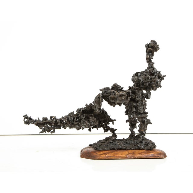 """""""Sprawl #4"""", a brutalist abstract sculpture in blackened steel and fused bronze, with a hand-carved zebra wood base. A new..."""