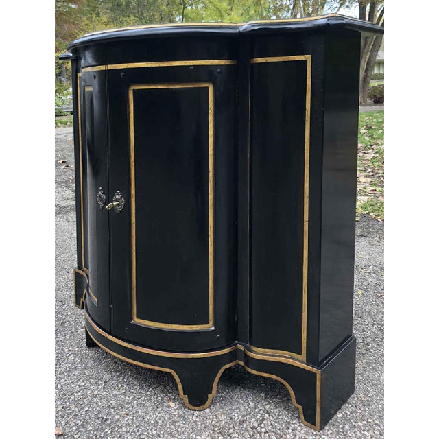 Baker Furniture Company Baker Chinoiserie Black Lacquer Demi-Lune Commode For Sale - Image 4 of 13