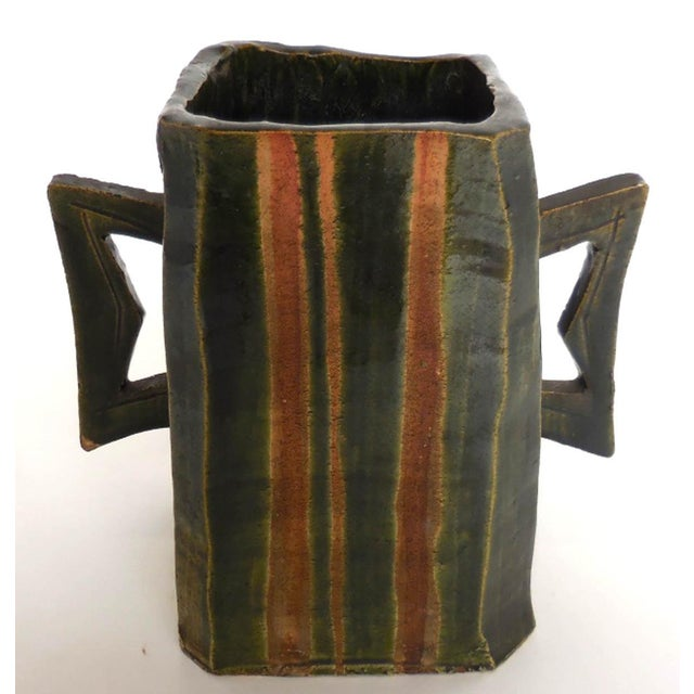 Japanese Pottery Vessel With Two Large Handles in Matte Earth Colors For Sale - Image 4 of 12