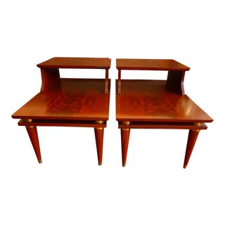 Flame Mahogany Side Tables - A Pair