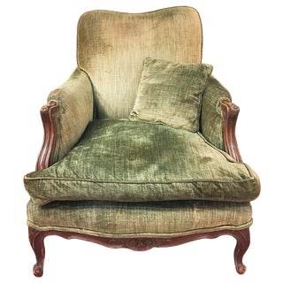 Antique Moss Green Velvet Chair
