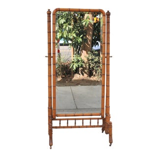 Hollywood Regency Bamboo Floor Mirror For Sale