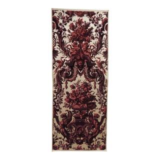 Antique Red and Burgundy Silk Cut Velvet Allegorical Panel For Sale
