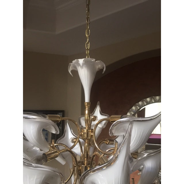 Beautiful Murano Calla Lily Chandelier by Franco Luce - Image 4 of 5