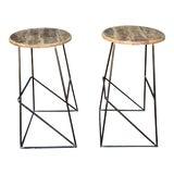 Image of Modern Kalalou Rustic Wood and Metal Bar Stools- a Pair For Sale