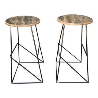 Modern Kalalou Rustic Wood and Metal Bar Stools- a Pair For Sale