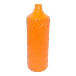 Ceramic Orange Chevron Pattern Vase