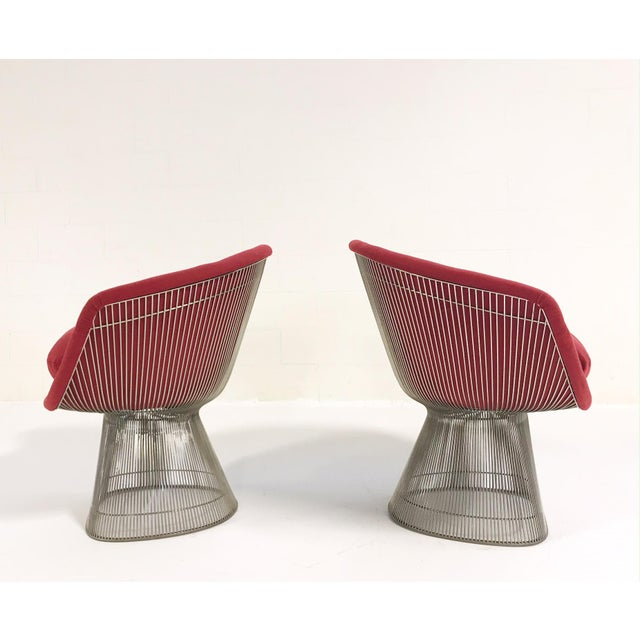 Warren Platner for Knoll Lounge Chairs Restored in Loro Piana Red Cashmere - Pair For Sale In Saint Louis - Image 6 of 13
