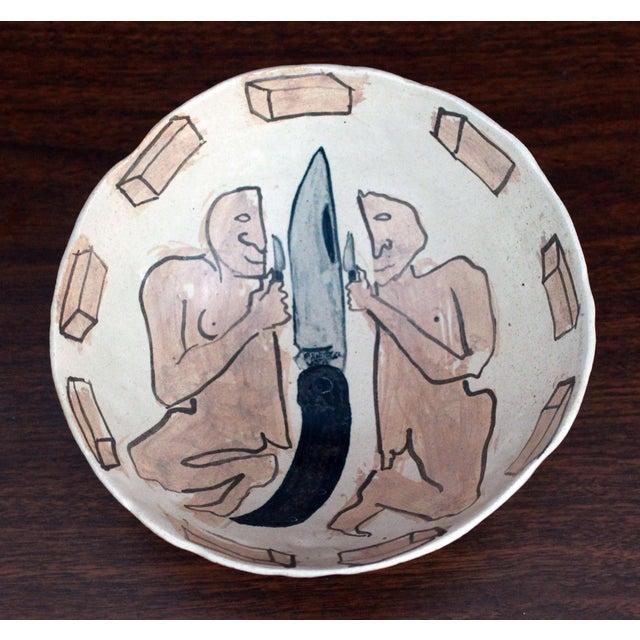 Fabulous vintage c.1983 folk art ceramic bowl by Massachusetts artist Marilyn Andrews! It is whimsical and philosophical,...