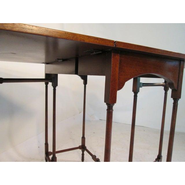 Burnt Umber 1940s Traditional Baker Drop Leaf Mahogany End Table For Sale - Image 8 of 9