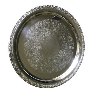 Vintage WM Rogers Silver-Plate Round Tray For Sale