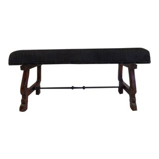 Italian Modern Neoclassical Walnut and Hammered Iron Bench