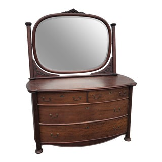 Antique Mahogany Bow Front Dresser With Mirror For Sale