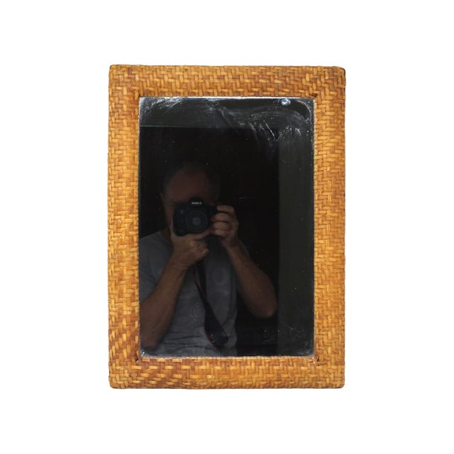 Vintage Rectangular Rattan Framed Mirror For Sale