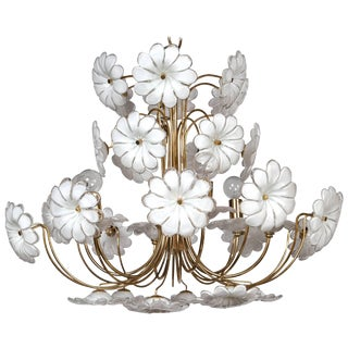 1960s Murano Venetian Glass Model Flower Chandelier For Sale