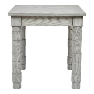 Transitional Turned Leg Side Table in Gray Oak by Martin and Brockett For Sale
