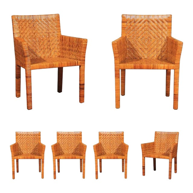 Terrific Restored Set of Six Cane Chairs in the Style of Jean-Michel Frank For Sale