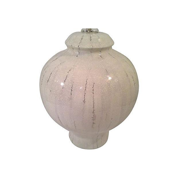 White Ceramic Lamp With Craqueleur Finish - Image 4 of 4