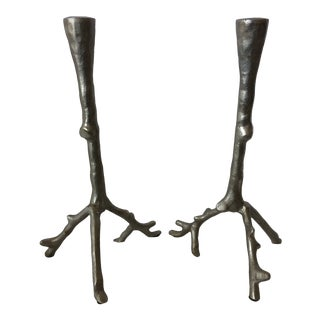 Pair of Faux Bois Cast and Polished Aluminum Candle Holders For Sale