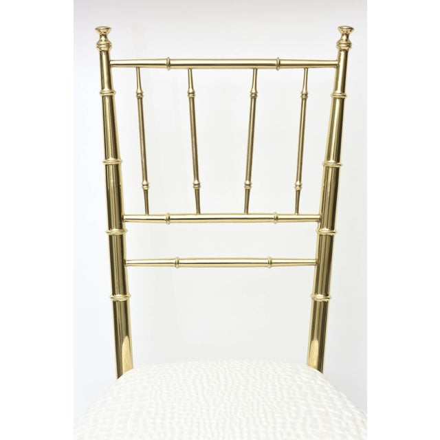 1960s Vintage Mid Century Italian Chiavari Faux Bamboo Brass and Upholstered Side Chair For Sale - Image 5 of 11