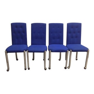 Vintage Mid-Century Dining Chairs on Chrome Casters - Set of 4 For Sale