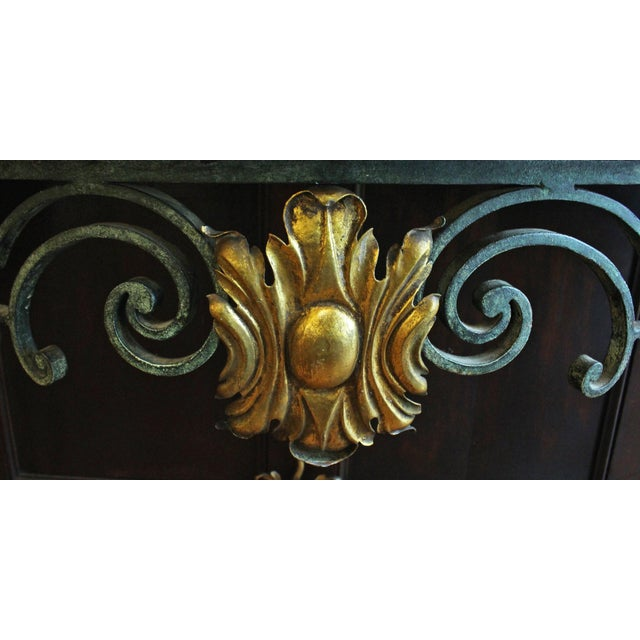 Scrolled Iron Marble Top Console Table For Sale In Raleigh - Image 6 of 8