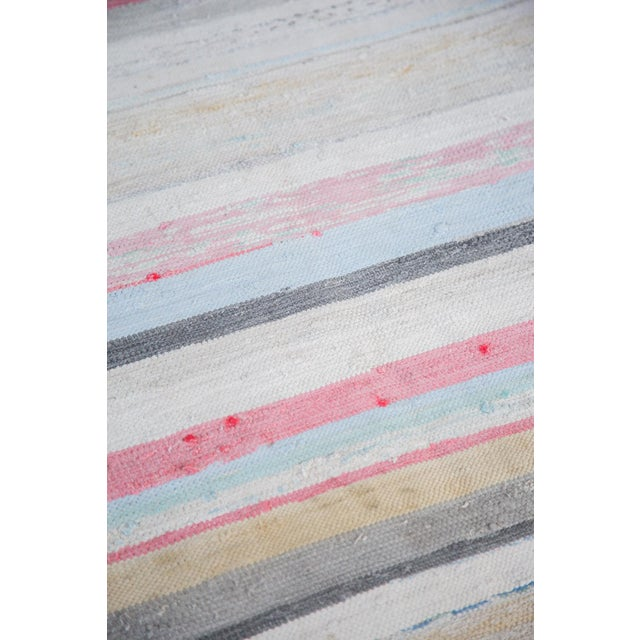 "Vintage Striped Rag Rug - 7'5"" x 9'11"" - Image 6 of 6"