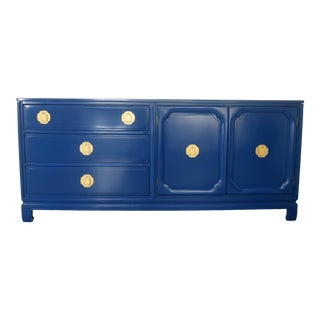 Ming Style High Gloss Blue Credenza For Sale