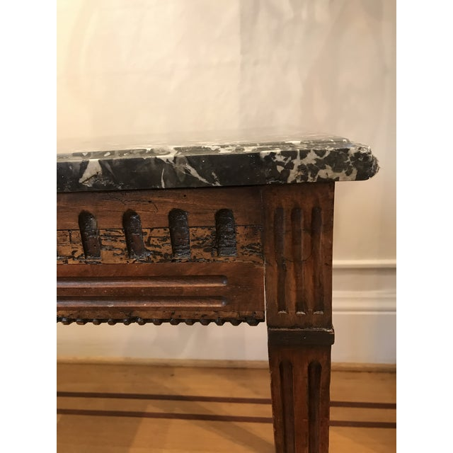 French 18th Century Fruit Wood Marble Top Console Table For Sale - Image 3 of 6