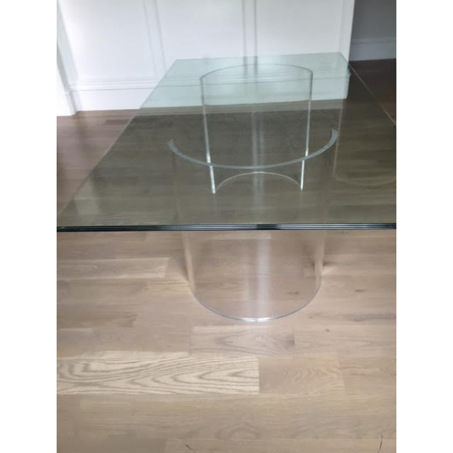 Vintage Lucite Base Dining Table For Sale - Image 4 of 10