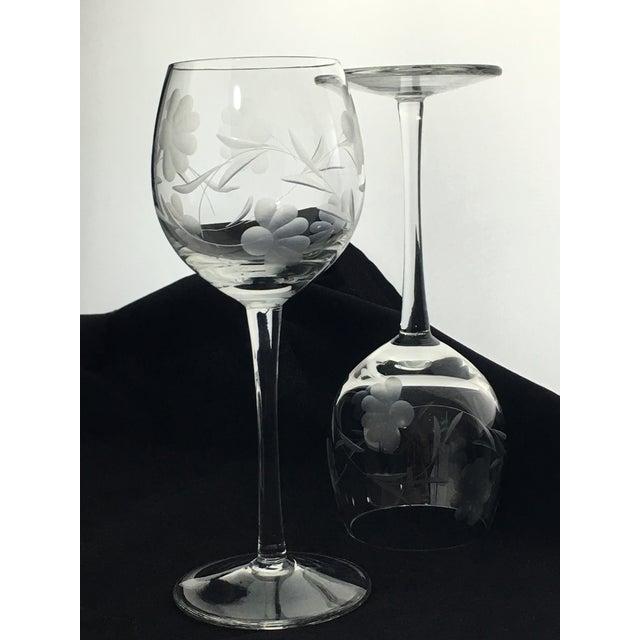 Vintage Etched Crystal Stemware - Set of 9 For Sale In Charlotte - Image 6 of 12