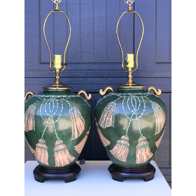 Without a doubt the prettiest lamps we have ever had and I am thinking they could be by Wildwood. Hand painted tassels and...