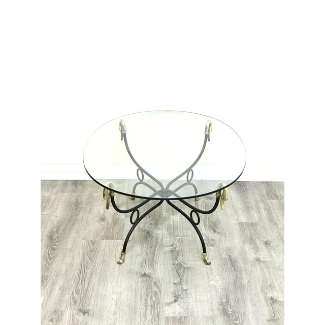 1970s Hollywood Regency Brass & Iron Glass Top Coffee Table For Sale - Image 5 of 11