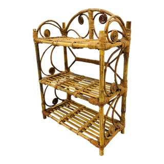 Vintage Scorched Bamboo Shelf For Sale