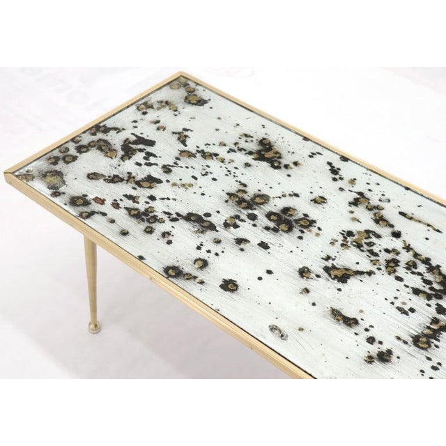 Mid-Century Modern Small Italian Rectangular Coffee Table on Brass Legs Mirrored Top For Sale - Image 3 of 10