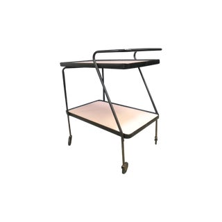 Vintage Pink & Black Bar Cart For Sale
