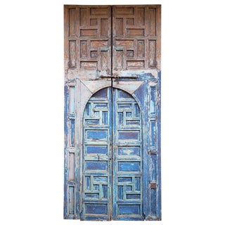 1940s Vintage Moroccan Old Hand Painted Double Door For Sale