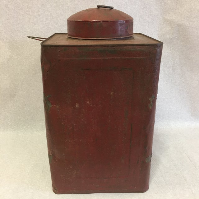Red Antique Tin Container For Sale - Image 8 of 11