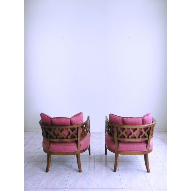 Mid Century Pink Lattice Back Barrel Chairs After William Billy Haines - a Pair For Sale - Image 4 of 9